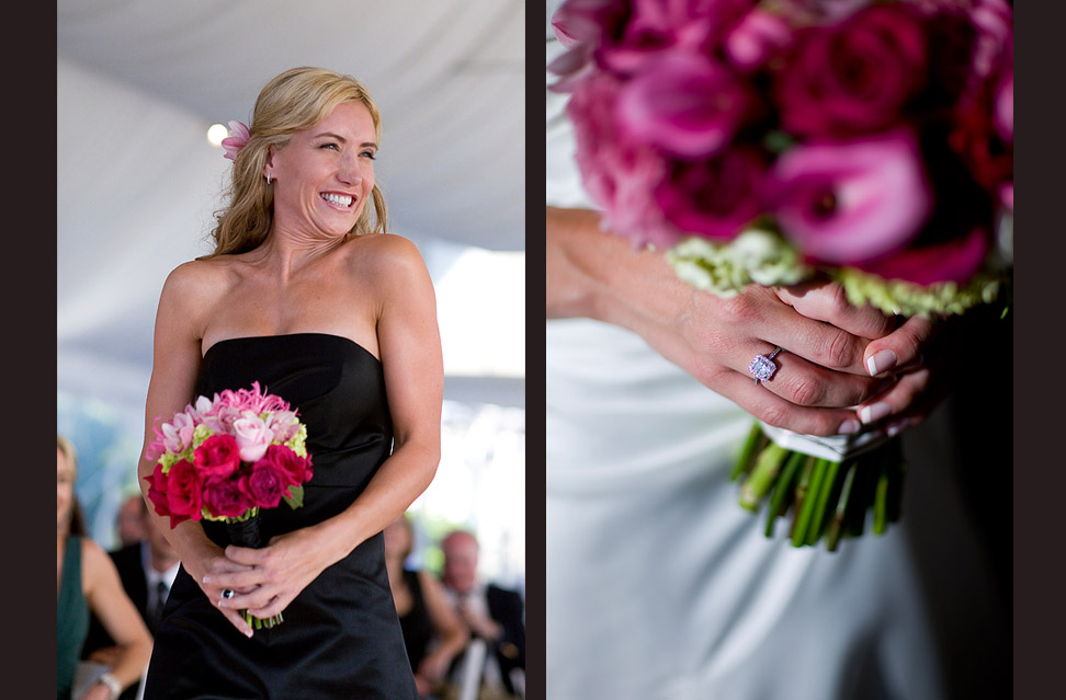 Pauline's twin sister and maid of honor Deanna  is all smiles as she walks down the aisle during the wedding ceremony at the Golf Club at Newcastle. (Photography by Scott Eklund/Red Box Pictures)Pauline's diamond engagement ring sparkles as she gets ready to walk down the aisle holding her bouquet as the ceremony begins. (Photography by Scott Eklund/Red Box Pictures)