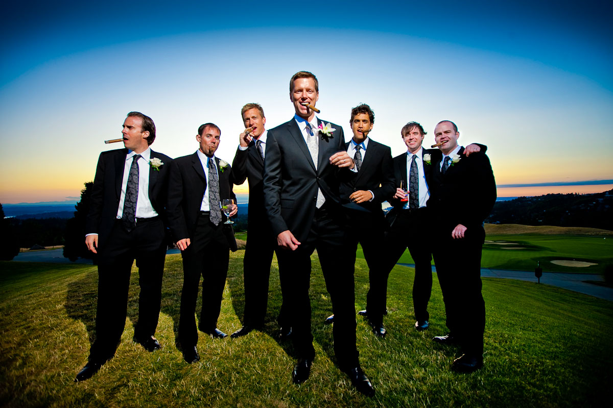 Scott and his groomsmen celebrate his marriage with cigars as the sun sets at the Golf Club at Newcastle in Bellevue, WA. (Photo by Scott Eklund/Red Box Pictures)
