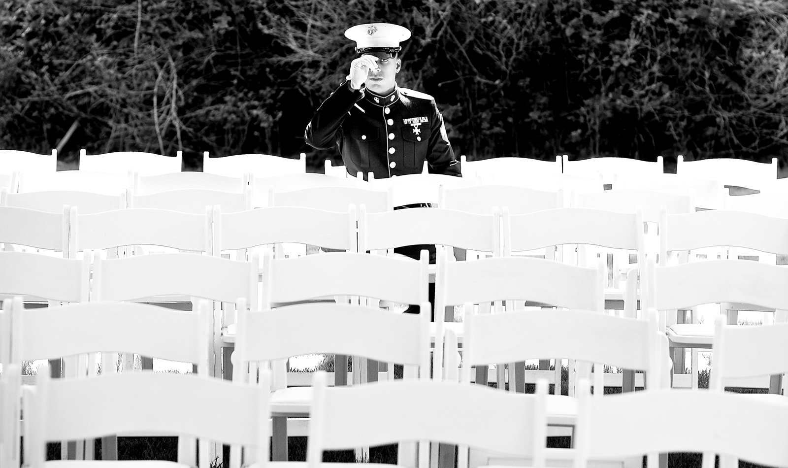 Wedding of a United States Marine Jake to bride Kristen. (Photo by Scott Eklund /Red Box Pictures)