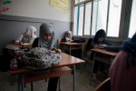 Hiba, 14, in class at the UNRWA school in Beddowi camp, Tripoli, Lebanon.