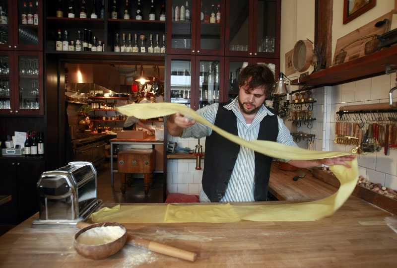 Justin Neidermeyer, chef/owner of Spinasse, makes ravioli at his Seattle restaurant on September 19, 2008.