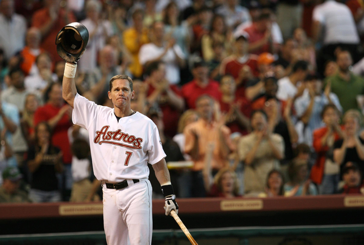 The Houston Astros' Craig Biggio tips his cap to the crowd during a standing ovation at the beginning of the game against the Colorado Rockies at Minute Maid Park on Saturday June 30, 2007 in Houston. Biggio had recently announced his retirement. The Rockies won 5-0.