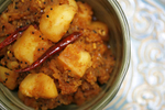 Potatoes in pickling  spices prepared by Indian chef Suneeta Vaswani in her Houston, TX home.