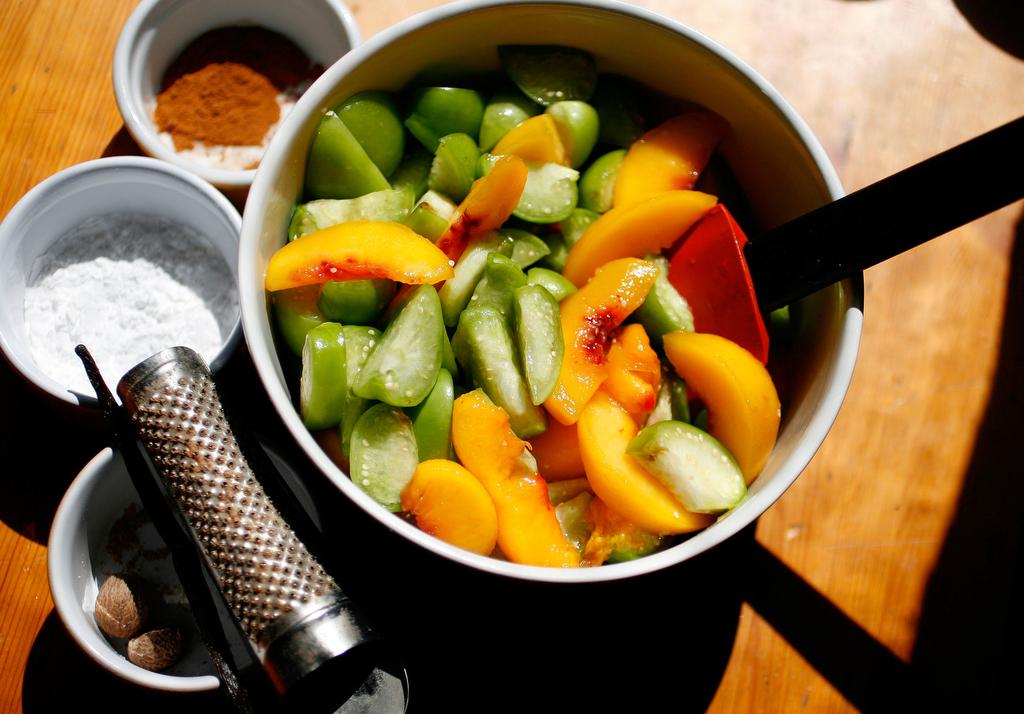 Peach-Tomatillo Cobbler