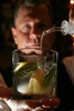 Bartender Terry Melvyn mixes a Basil and Brown Sugar Mojito at Ouisie's Table in Houston, TX.