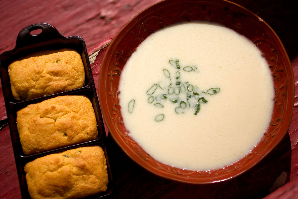 Crema de Palmitos soup, a recipe from Zarela's Veracruz  featuring scallions, garlic and diced hearts of palm with Mexican cornbread in Houston, TX.