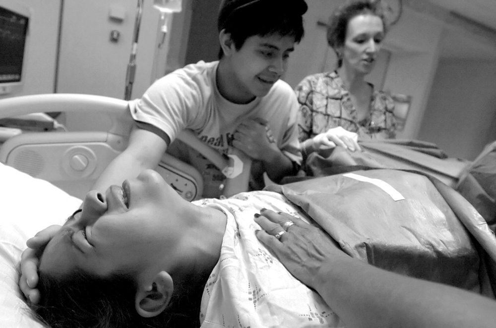 Maria struggles through birth on Thursday, May 6, 2004, in Dallas.