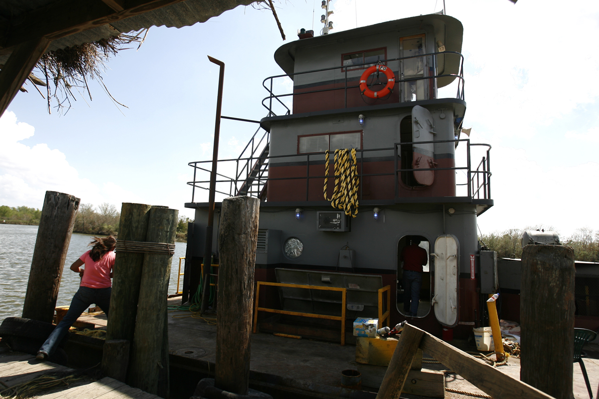 The tugboat where the Shiver family lived for weeks on Oak Island.