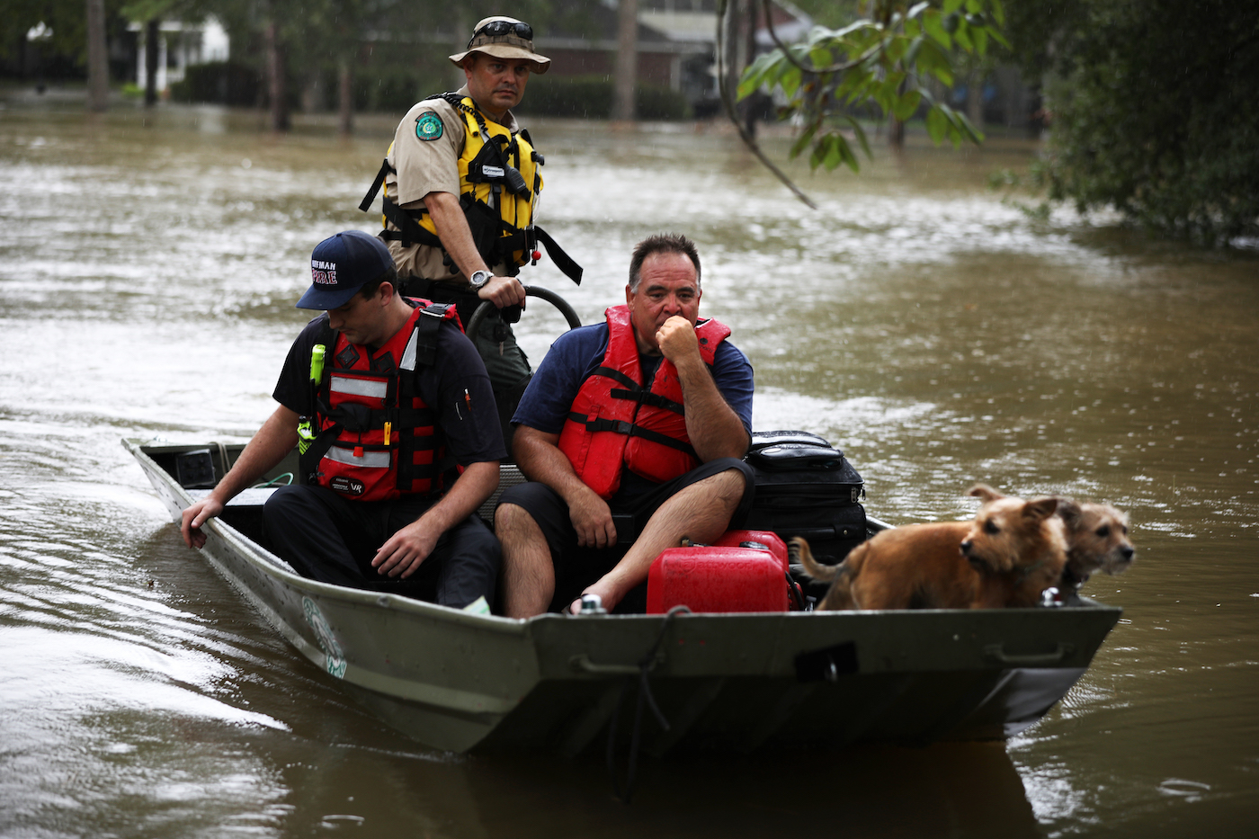 The Harris County Sheriff's Office and other first responders rescue people from floodwaters in Huffman, TX during Tropical Storm Imelda on September 20, 2019. Huffman experienced 22.21 inches of rain during the storm. Photo by Sharon Steinmann/Harris County Sheriff's Office