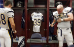 Dale Lloyd's Jersey hangs in a locker at the R+L Carriers NewOrleans Bowl at the Louisiana Superdome on Friday, December 22, 2006. Lloyd died after collapsing on the field during practice earlier in the year.