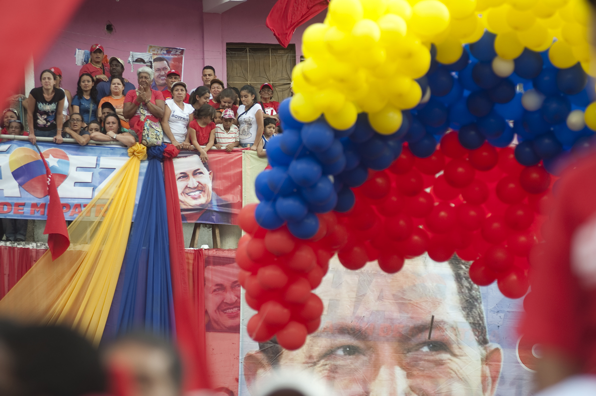 Chavez supporters gather before a rally in the Petare slum of Caracas, Venezuela on Chavez's 58th birthday on Saturday, July 28, 2012.
