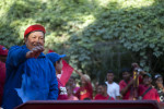President Hugo Chavez greets his supporters during a rally in the Petare slum of Caracas, Venezuela as he celebrates his 58th birthday and continues his re-election campaign on Saturday, July 28, 2012.