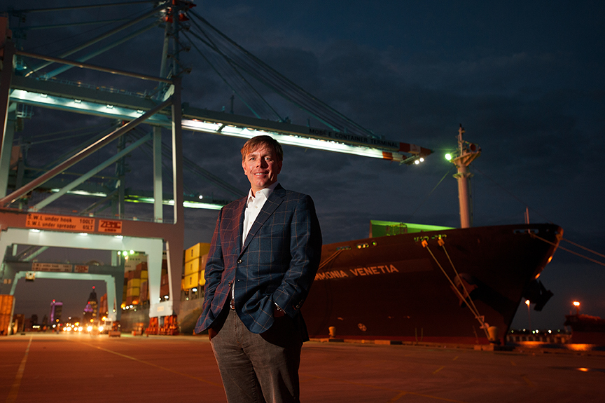 Sandy Myers of ASF Logistics poses at the Mobile Container Terminal in Mobile, Ala., on Nov. 18, 2013.