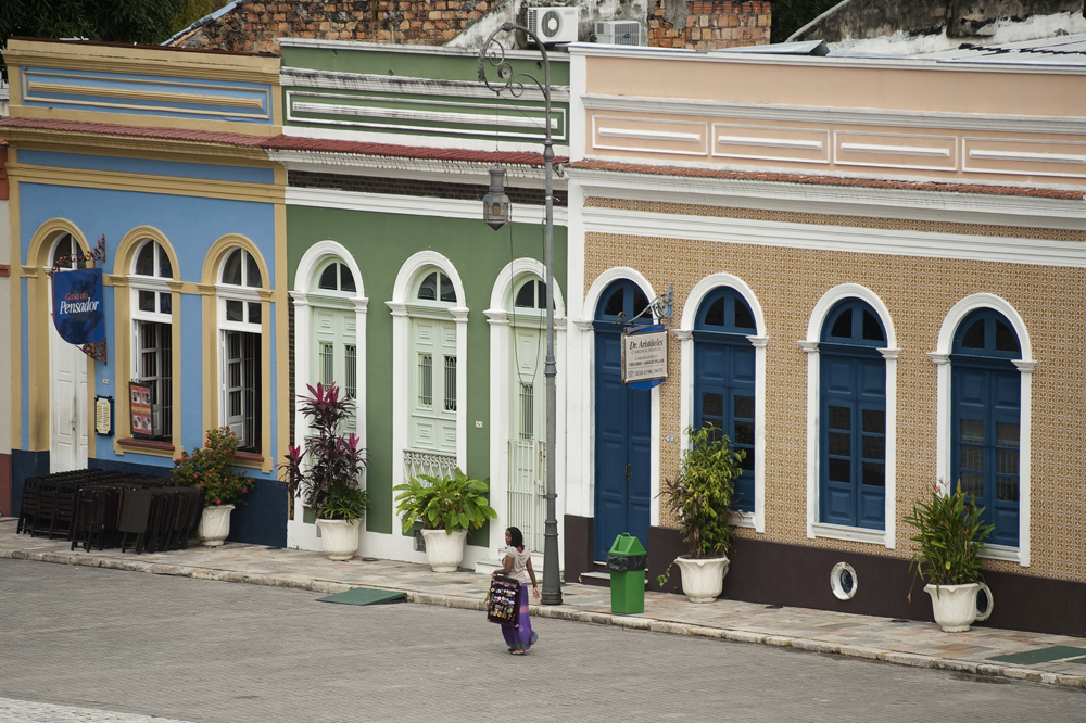 Old buildings in the St. Sebastian Square near the Teatro Amazonas opera house in Manaus which was built in the 1890s during the city's rubber boom. Manaus, Brazil, a city in Northern Brazil that is expanding into its surrounding rain forest on Saturday, March 10, 2012.
