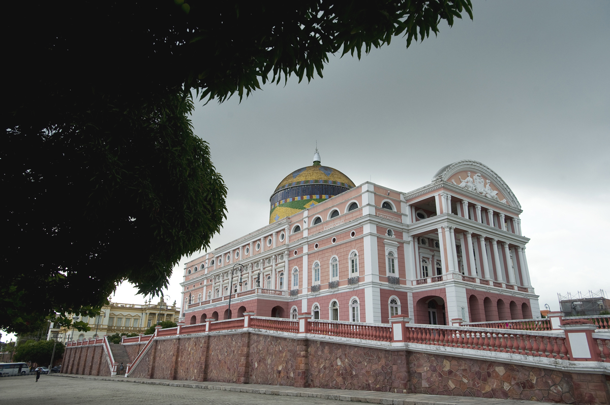 The Teatro Amazonas opera house in Manaus which was built in the 1890s during the city's rubber boom.