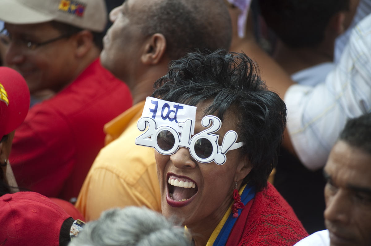 A supporter attends a rally for Hugo Chavez in Caracas, Venezuela on Monday, June 11, 2012