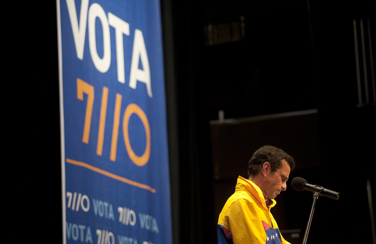 Opposition candidate Henrique Capriles delivers his concession speech on Sunday night.