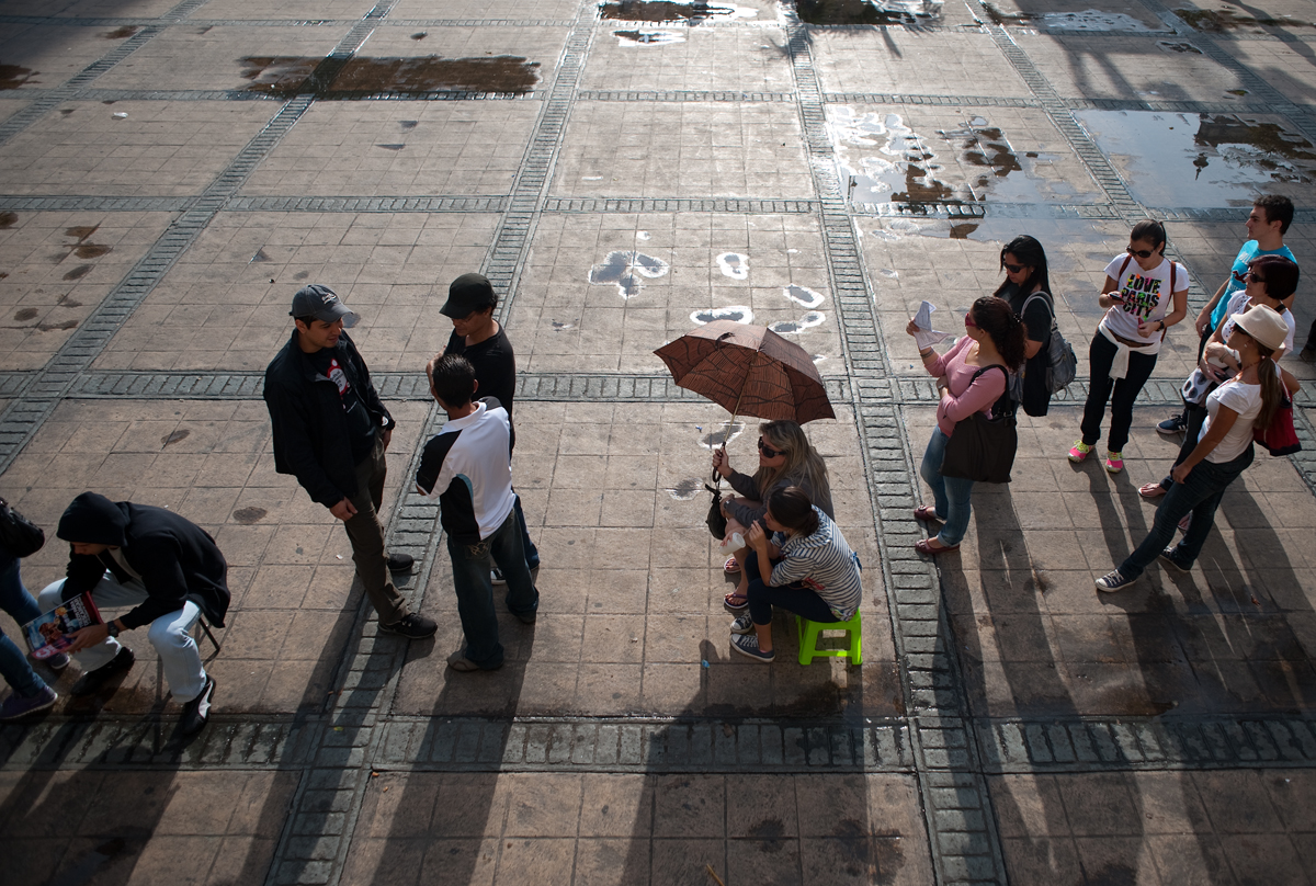 People wait to cast their votes in a downtown Caracas plaza.