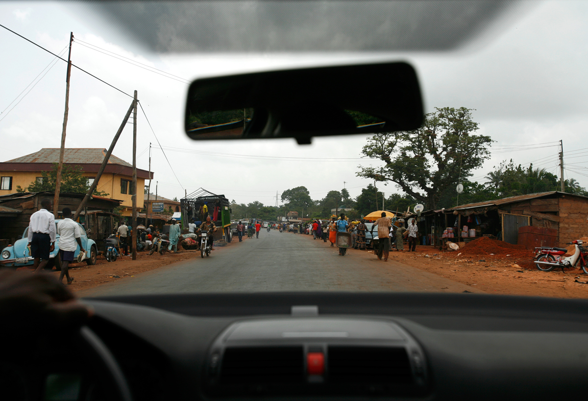 The road to the airport in Lagos, Nigeria in 2008. Celestina traveled on a tourist visa to Houston in 1984.