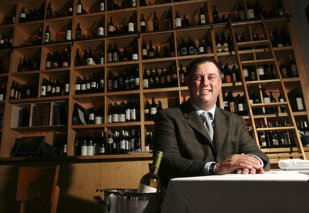 Tony Biagi, winemaker for Plumpjack, poses for a portrait at Ibiza restaurant in Houston, TX.