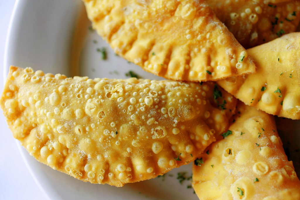 Brazilian empanadas known as {quote}pastel{quote} from Emporio Brazilian Cafe in Houston, TX.