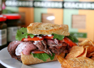 The Joho peppered beef with brillat-savarin sandwich at The Tasting Room Gourmet in Houston, TX on Wednesday May 9, 2007.  Sharon Steinmann / Chronicle