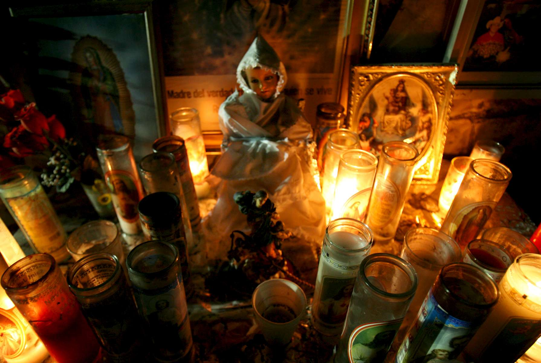 An altar is maintained at the entrance to the Pasta de Conchos coal mine Thursday March 16, 2006 in San Juan de Sabinas, Mexico.  In the Early morning on Sunday February 19, 2006 sixty-five miners were trapped as much as 2000 feet below ground after an explosion.Sharon Steinmann / Houston Chronicle