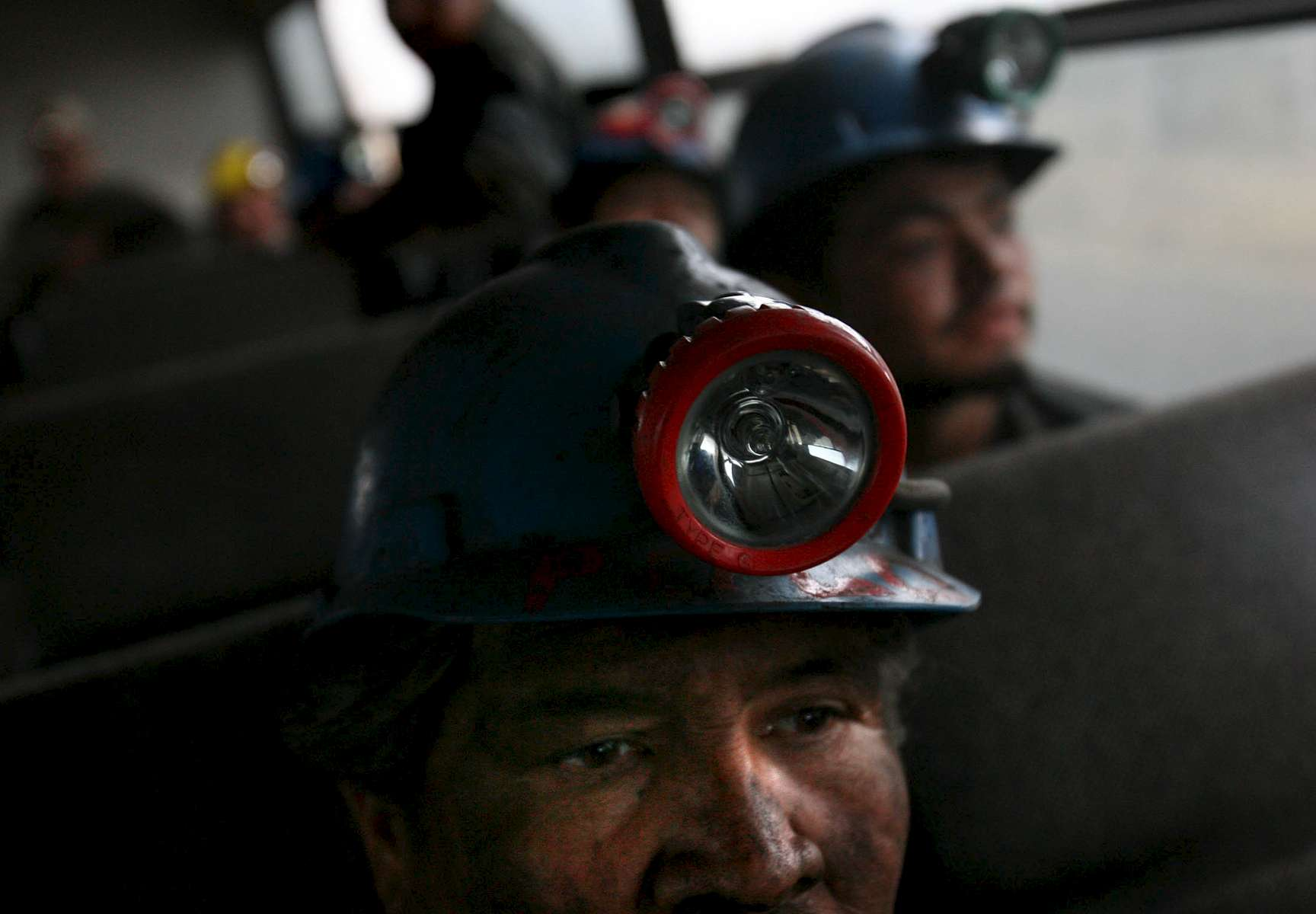 Coal miners leave on a bus after work in rescue efforts Friday at the Pasta de Conchos coal mine in San Juan de Sabinas in the Mexican state of Coahuila. Family members continued to wait outside the Pasta de Conchos coal mine as well. In the Early morning on Sunday 65 miners were trapped as much as 2000 feet below ground after an explosion.Sharón Steinmann / Houston Chronicle