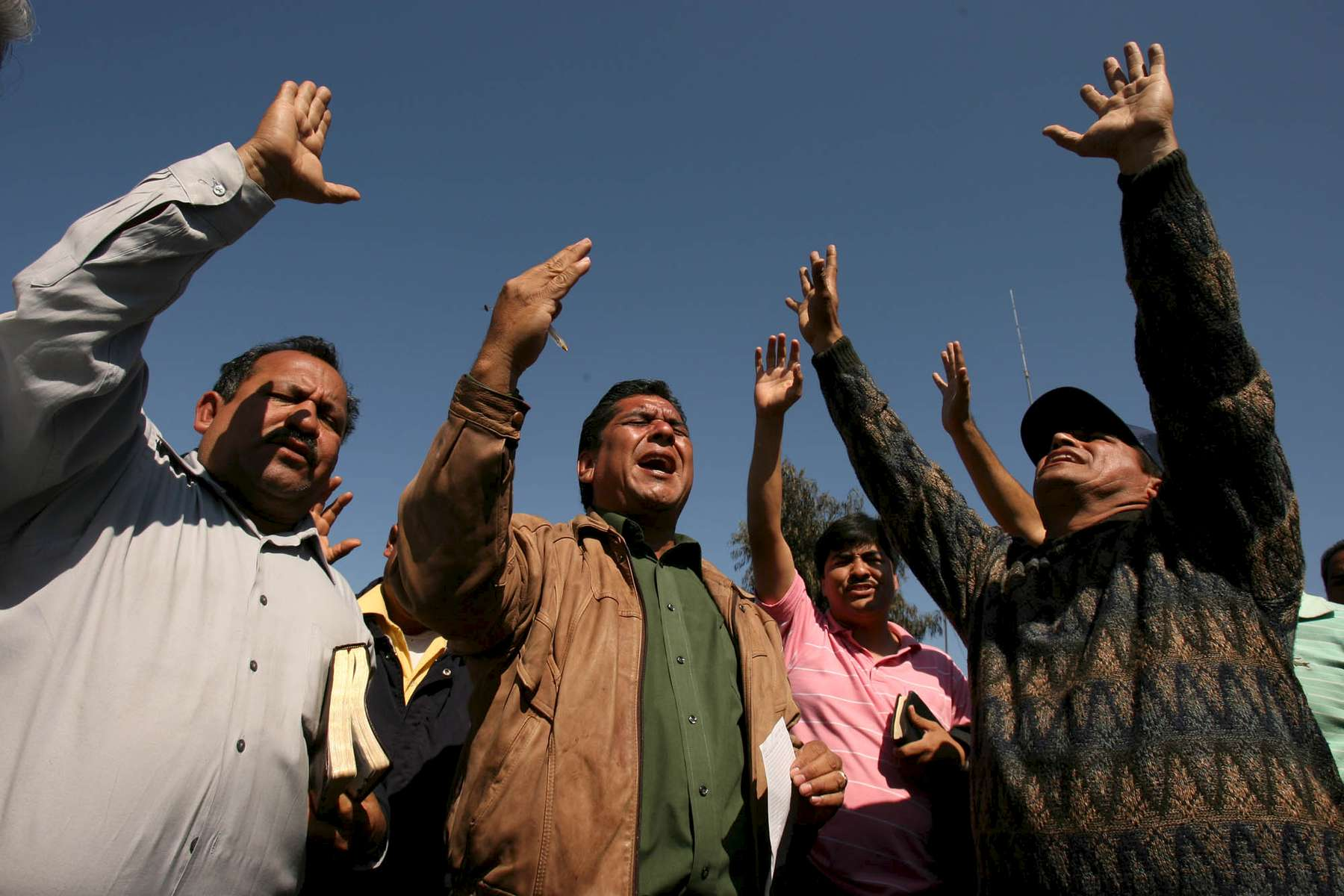 Pastors from area evangelical congregations prayed in front of the Pasta de Conchos coal mine in San Juan de Sabinas in the Mexican state of Coahuila Tuesday.  Family members waited outside the Pasta de Conchos coal mine Tuesday. In the Early morning on Sunday 65 miners were trapped 163 meters below ground after an explosion.Sharón Steinmann / Houston Chronicle
