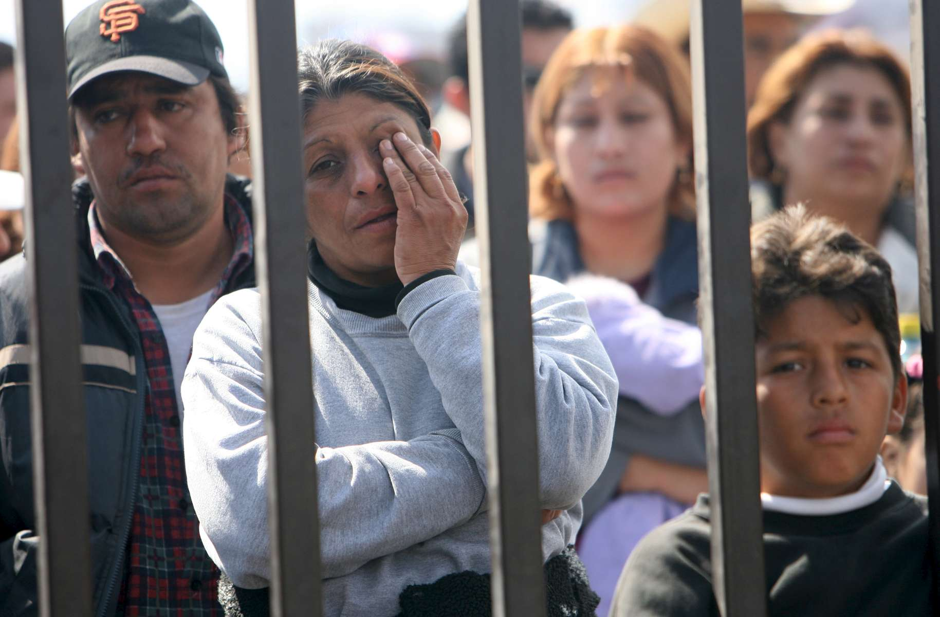 Family members wait outside the Pasta de Conchos coal mine in San Juan de Sabinas in the Mexican state of Coahuila Monday. In the Early morning on Sunday 66 miners were trapped 163 meters below ground after an explosion.Sharon Steinmann / Houston Chronicle