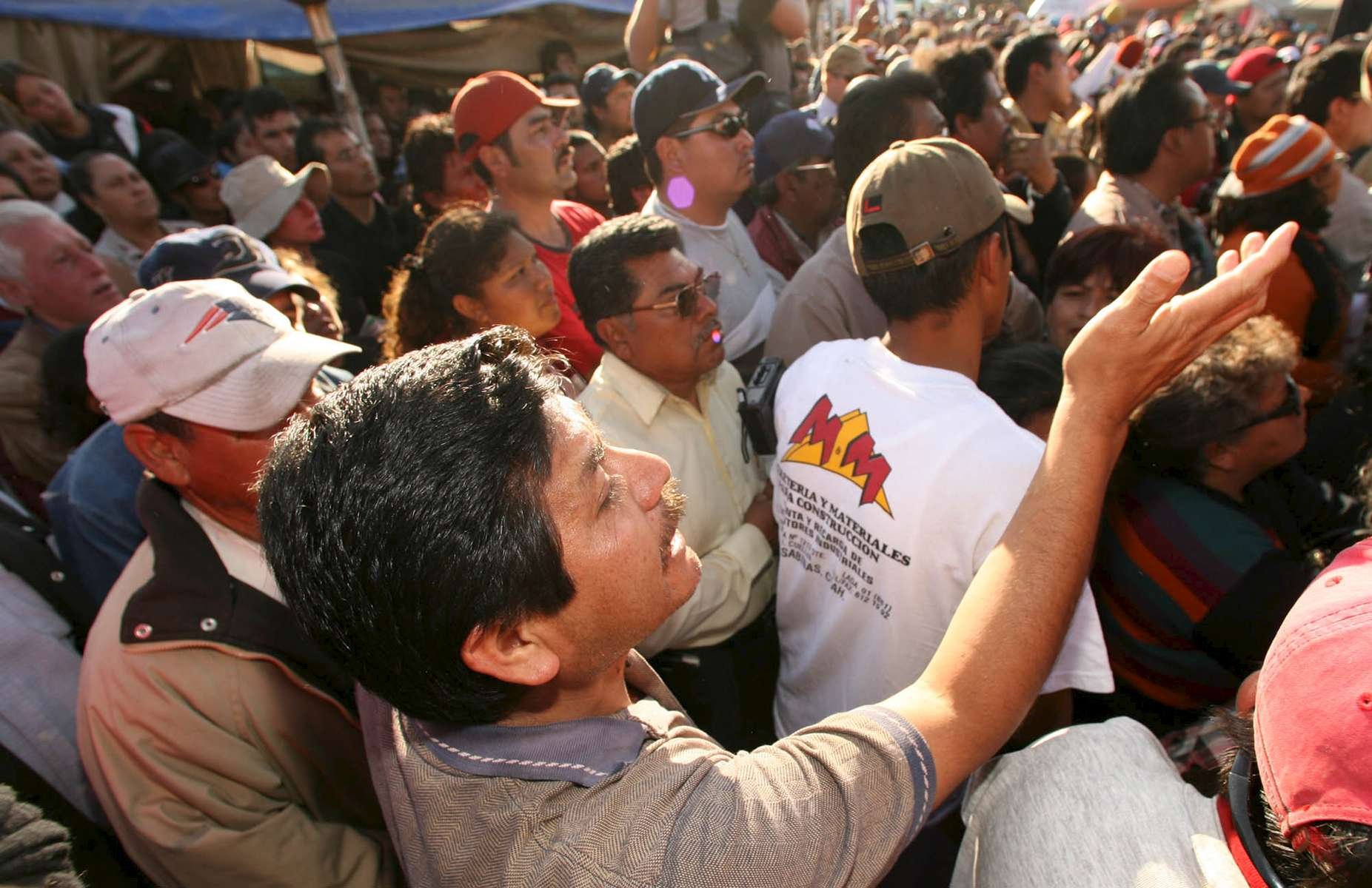 A man who did not want to be identified screamed complaints to officials during a press conference in front of the Pasta de Conchos coal mine in San Juan de Sabinas in the Mexican state of Coahuila Tuesday. Family members waited outside the Pasta de Conchos coal mine Tuesday. In the Early morning on Sunday 65 miners were trapped 163 meters below ground after an explosion.Sharón Steinmann / Houston Chronicle