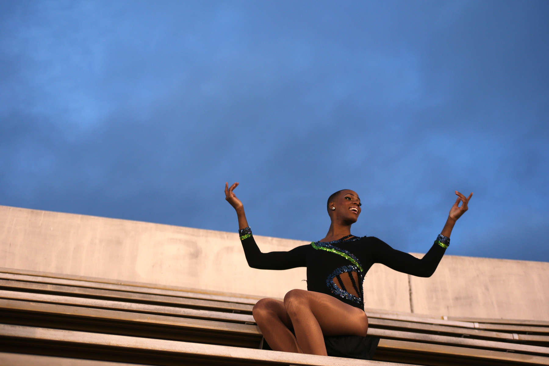 Adrian Clemons, 23, of the the Prancing Elites performs in the stands at a Jackson State football game in Jackson, Miss. The group paid over $100 in ticket prices to perform in the crowd.