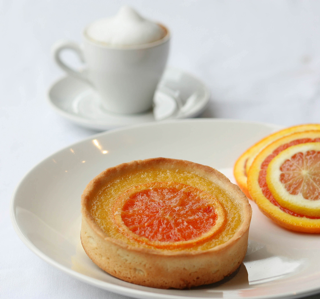 A passion citrus tart at Tart Cafe in Houston, TX.