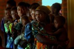 Mothers wait to have the children checked by doctors at a clinic in Malawi.