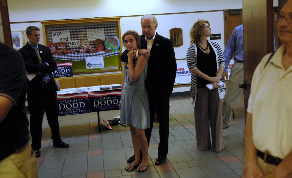 Biden, left, waited with his granddaughter, Naomi Biden, while being introduced at the Bremer County Democrats Summer Fundraiser in Waverly, Iowa.