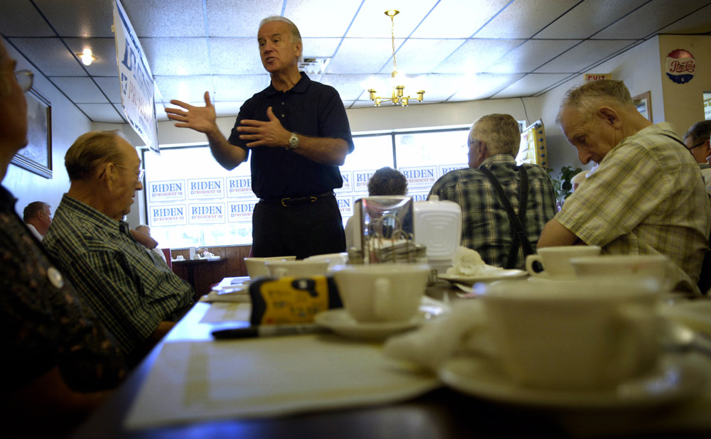 Biden talks about the war in Iraq during a campaign stop at The Two Brothers Restaurant in Independence, Iowa. The war in Iraq and plans to end the conflict were central in  Biden's campaign speeches.