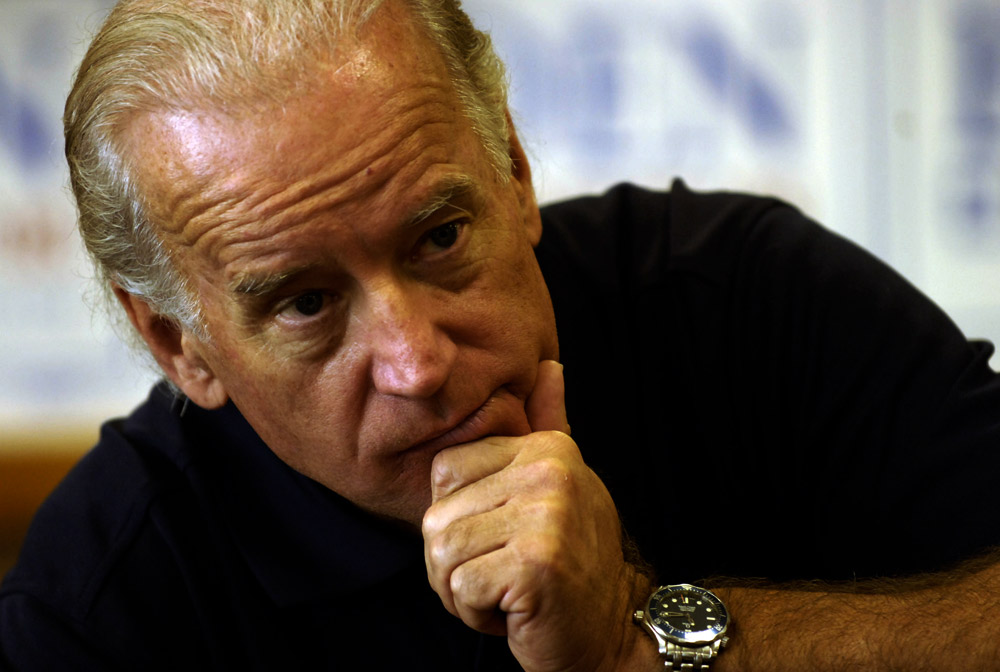 Democratic presidential candidate Sen. Joe Biden listened to a question while talking to a group at The Cedar Lodge Steak House in Manchester, Iowa.