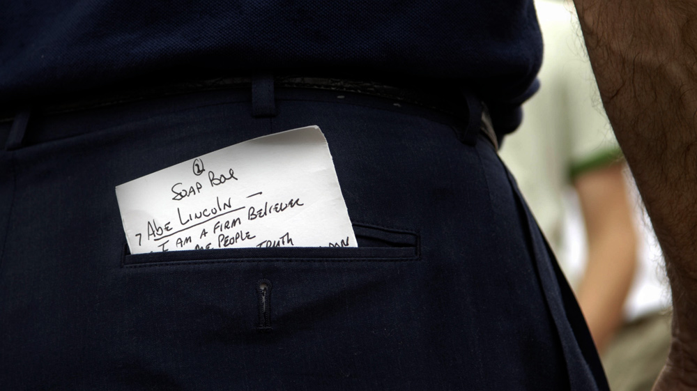 Democratic presidential candidate Sen. Joe Biden (D-DE) keeps a note card in his back pocket to ensure a precise quoting of Abraham Lincoln during his speech at the Des Moines Register Soap Box at the Iowa State Fair in Des Moines, Iowa August 15, 2007.