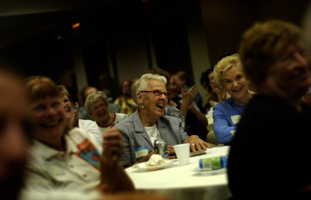 Bremer County Iowa Democrats listened to presidential candidate Sen. Joe Biden  during the group's summer fundraiser in Waverly, Iowa.