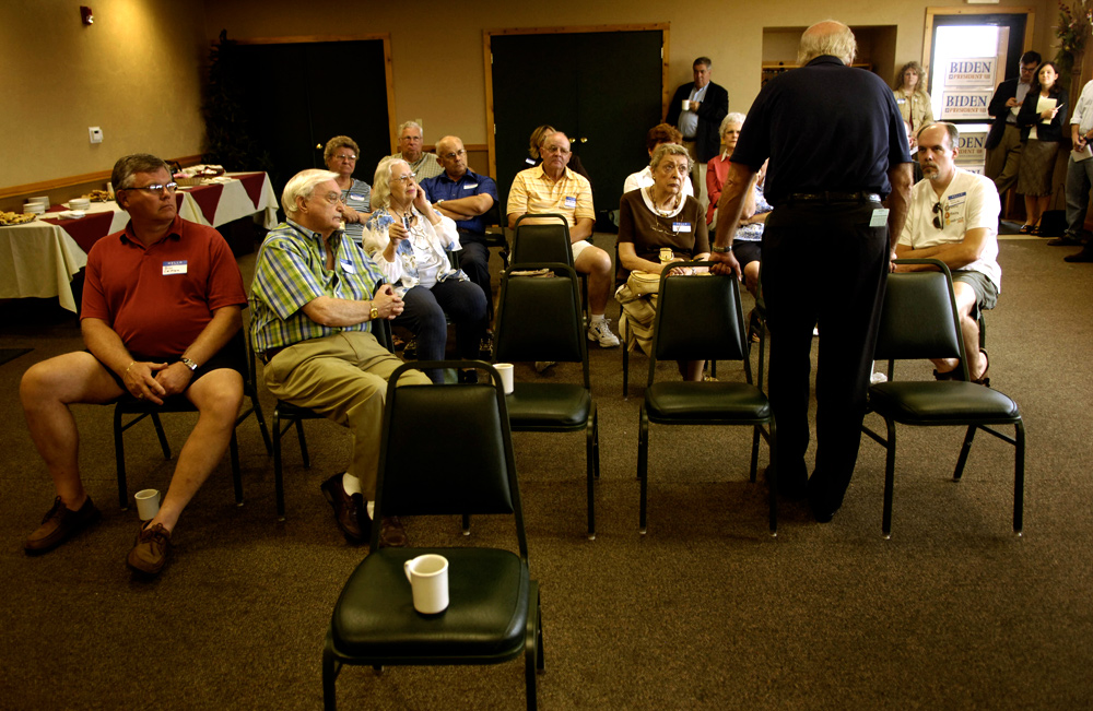 Democratic presidential candidate Sen. Joe Biden answered questions while talking to a group at The Cedar Lodge Steak House in Manchester, Iowa. While some of his other candidates are packing high school gyms, Biden's appearances are less well attended.