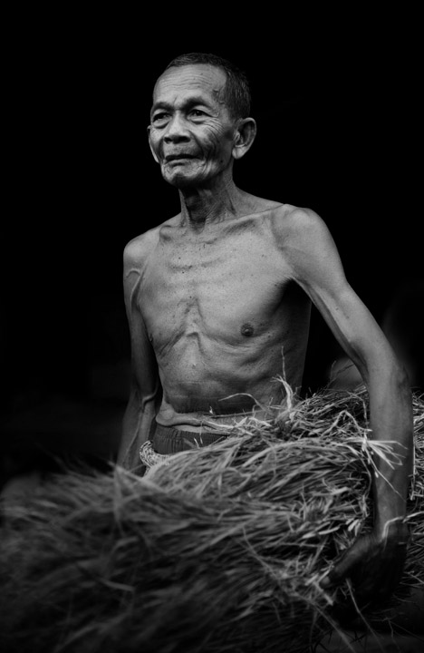 A farmer holds grass to feed his animals near his home in Oudong, Cambodia.