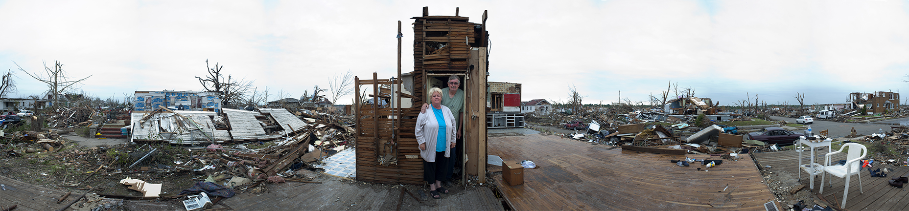 Kay and Ed Boyd rode out the tornado in a closet. It is all that remains of their home. {quote}She wanted to get into the bathtub but I said {quote}No, you get in that closet,{quote} said Ed Boyd.Five minutes later they had lost everything.