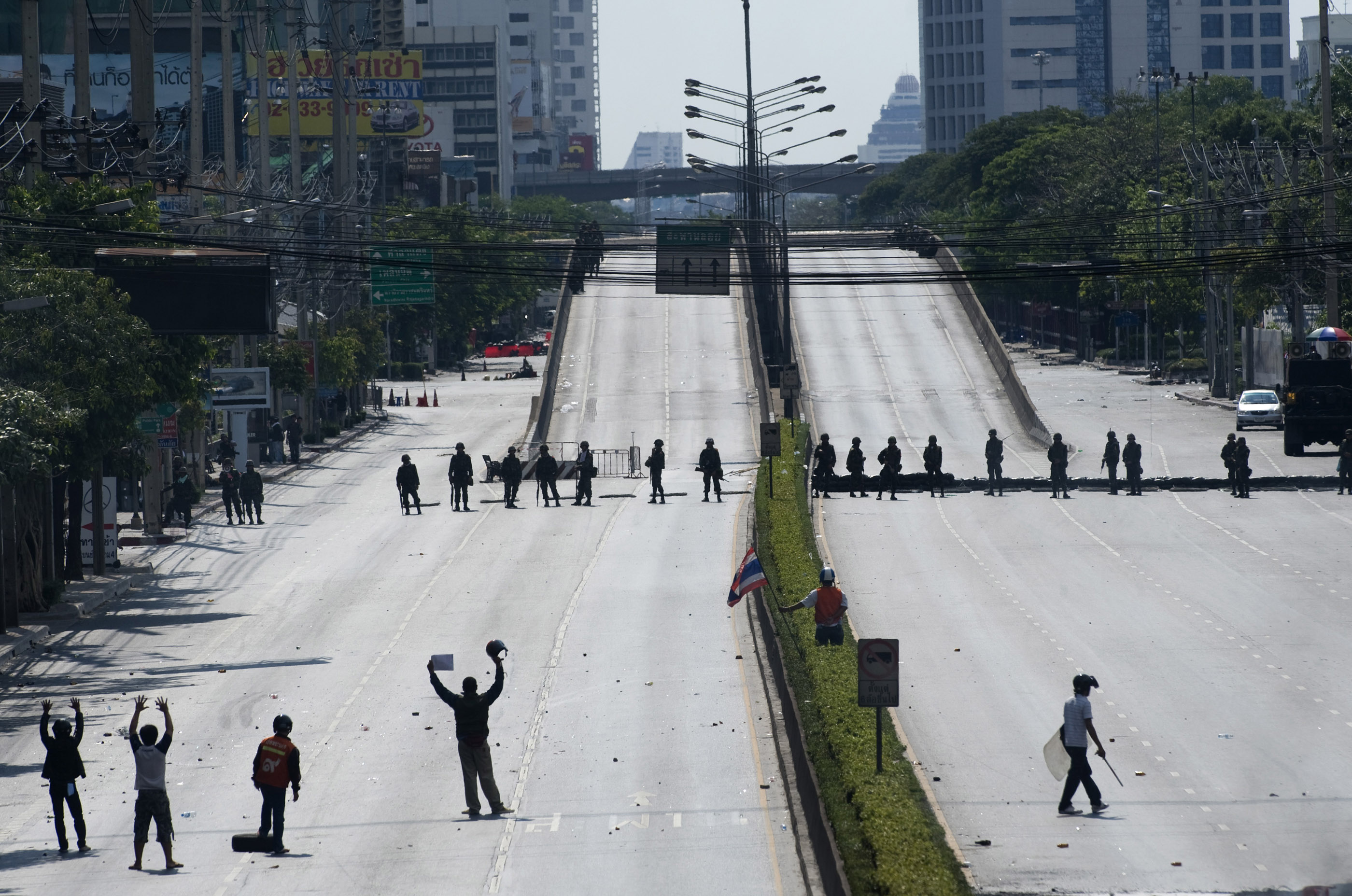Rama IV Road in Bangkok is normally choked with traffic but roads were blocked by the military and protesters effectively shutting down the center of the city.