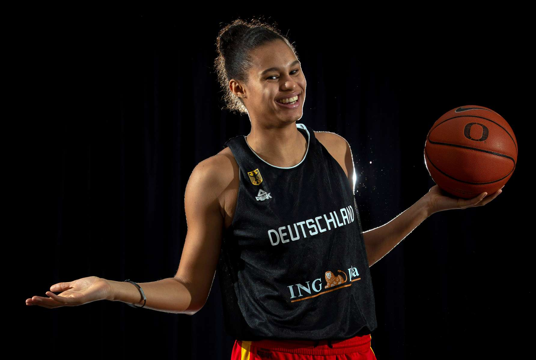 Satou Sabally plays for both the Oregon Ducks and the German National Team.