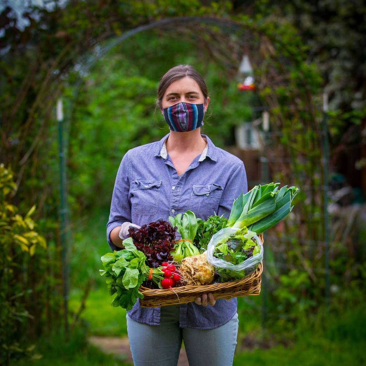 Shelley Bowerman holds a Spring Veggies assortment to be delivered to a CSA member of Moondog's Farm in Eugene. Bowerman has also started Lane County Bounty, an online marketplace for local goods that she had in the works before the coronavirus pandemic. {quote}I wanted to create a place where all of the local farmers could showcase what they do best and where the consumer could find everything that they need,{quote} Bowerman said.  [Andy Nelson/The Register-Guard] - registerguard.com