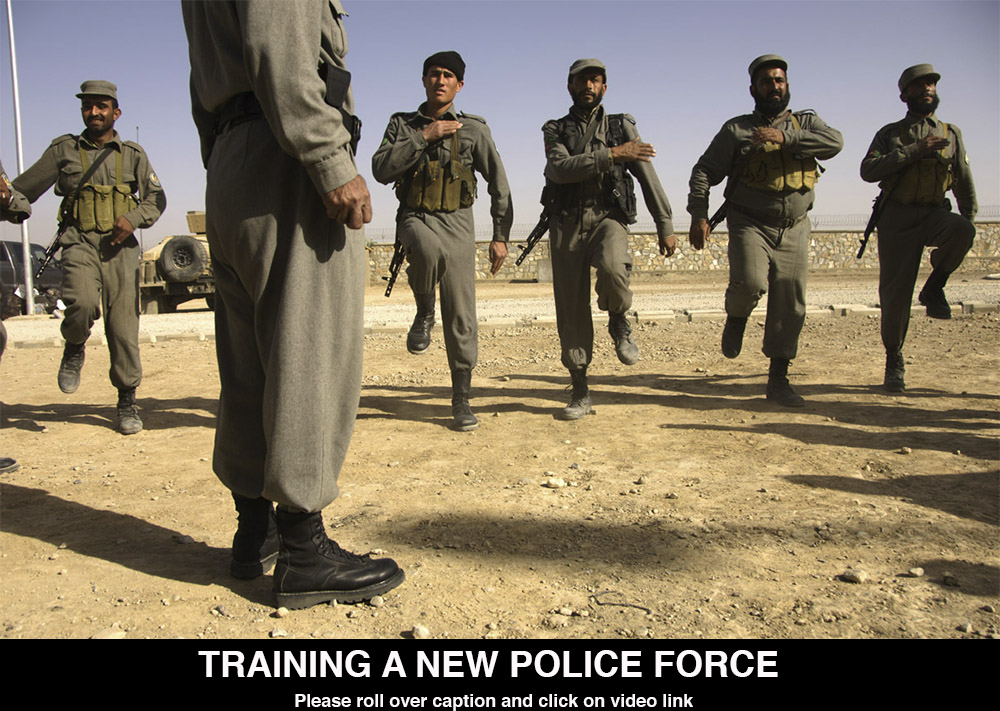 Click for VideoThe US Army has established several training camps for Afghan National Police. The police are often on the frontlines of keeping cities and villages safe and have had little training. The Police Mentoring Teams are designed to give the police the tools for better law enforcement and to the capacity to stay alive in the perilous conditions in which the serve.