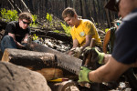 Eagle Scout Douglas Klink's Eagle Scout project was to work on a bridge that had been destroyed by fire near Cub Lake in Rocky Mountain National Park. The scouts volunteered their time and completed the bridge in a day.