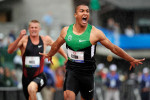 Ashton Eaton crosses the finish line setting a world record in the decathlon 100 meters with a time of 10.21. The event was the first of a record-shattering Olympic Trials.