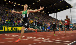 Nick Simmonds crosses the finish line in 1:43.92 to run the fastest time by an American ever at Hayward Field. Simmonds earned a place on the 2012 Olympic team with his victory.