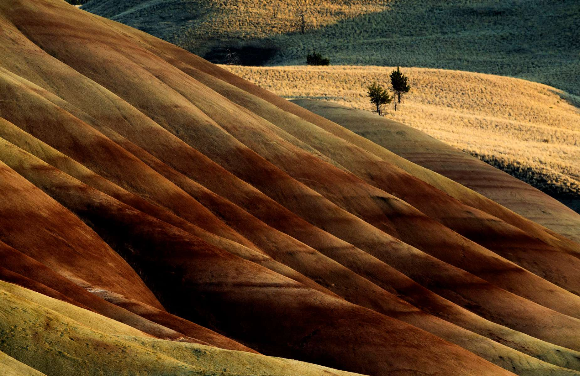 The late evening sun casts light and shadow on the Painted Hills in the John Day Fossi Beds National Monument Sept. 4, 2020, near Mitchell, Oregon. The Painted Hills are a top attraction in Wheeler County after being named one of Travel Oregon's Seven Wonders of the state.